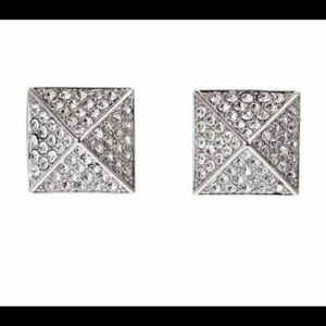 Vince Camuto Pave pyramid earrings silver